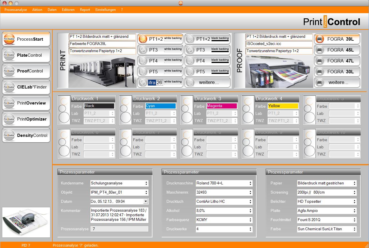 PrintProcessControl® - ProcessStart Ansicht